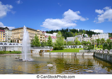 fountain, spa Marianske lazne, Czech republic - MARIANSKE...