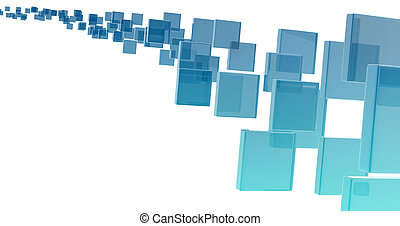 glass rectangles on white background. digitally generated...