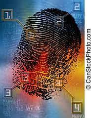 scanner,  -, cena,  crime, identificação, segurança,  biometric