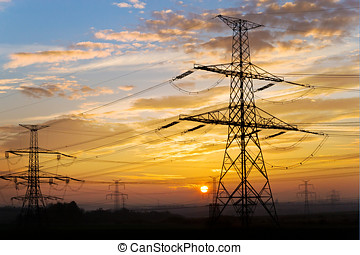 Electrical pylon - energy - Electrical pylon and high...