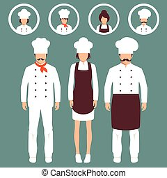 cook icons, restaurant chef hats - vector cooking...