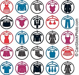 Clothes on a hangers icon set, vect