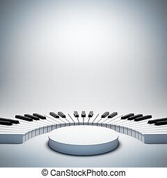 Empty white music stage.