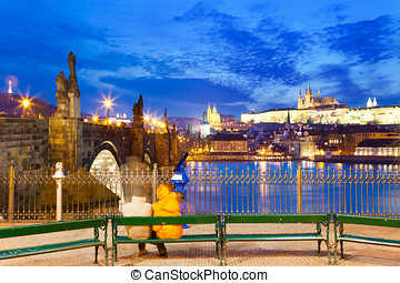 Charles bridge, Moldau river, Lesser town, Prague castle,...