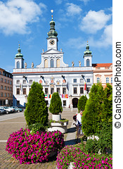 Main square and town hall, Ceske Budejovice, Czech republic...