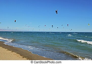 Kite surfing at beach in Torremolinos Spain