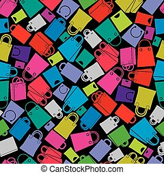 Shopping bags seamless background,