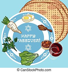 Funny Happy Jewish Passover greeting card Vector...
