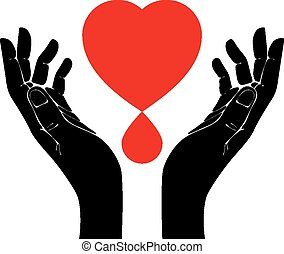 Hand with heart and blood drop vect