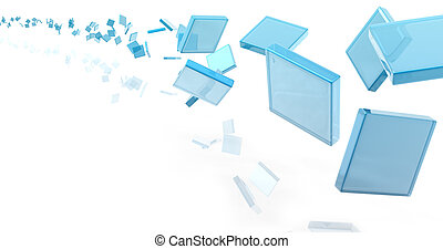 glass rectangles on white background digitally generated...