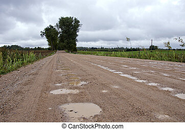 rural gravel road with puddles after rain