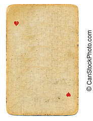 vintage playing card ace of hearts used paper background...