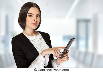 Business woman - Young beautiful business woman holding...