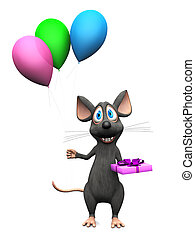 Smiling cartoon mouse holding balloons and a gift.