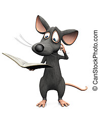Cartoon mouse reading book and looking confused.