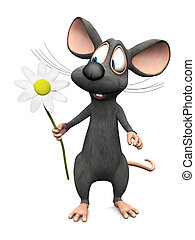Smiling cartoon mouse holding a big flower.
