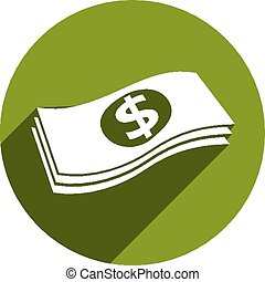 Money stack vector icon isolated.