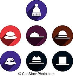 Headwear vector icon set.