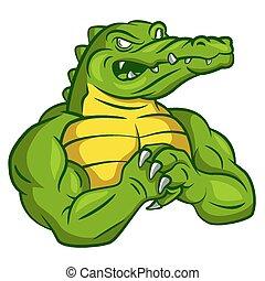 Crocodilo, forte, mascote