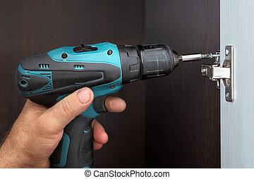 carpintero, mounts, puerta, guardarropas, tornillo, el,...