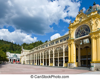 Spring colonnade, spa Marianske lazne, Czech republic -...