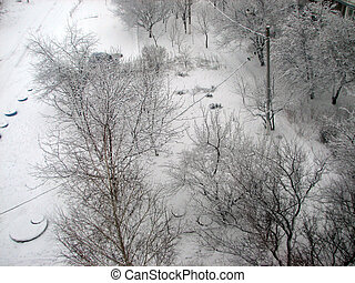 Winter with falling snow