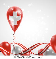 Swiss flag on balloon - Flag of the Swiss country on...