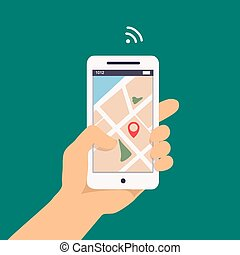 Vector illustration concept of man holding smartphone in hand with gps navigation.