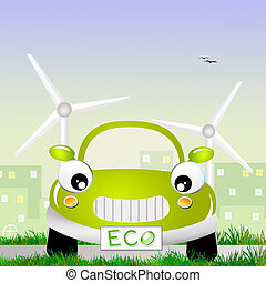Eco car - illustration of Eco car