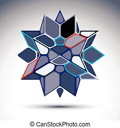 3d precious stone, indigo geometric stylish figure. Vector...