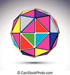 Vector abstract illustration, 3d disco ball isolated on...