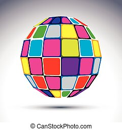 Vector dimensional modern abstract object, multicolored 3d...