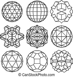 Collection of 9 black and white complex dimensional spheres...