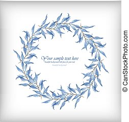 Blue leaves vector watercolor frame