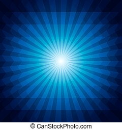 Deep blue dark geometric background with sunburst and triangles.