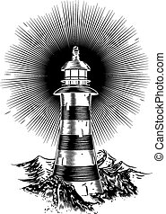 Light house in a retro hand drawn style with rough seas in...