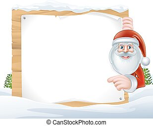 Christmas Cartoon Santa Claus Sign - Cartoon of Santa Claus...