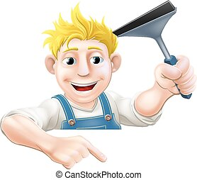 Pointing Squeegee Window Cleaner - An illustration of a...