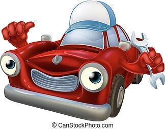 Cartoon car mechanic mascot - Cartoon car mechanic man...