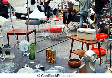 many vintage objects on the flea market