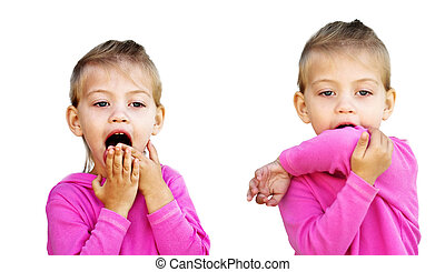 Child Coughing into Elbow - Little girl demonstrates the...