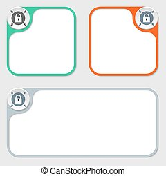 set of three vector frames and padlock
