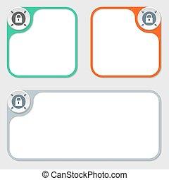 set of three vector frames and padlock