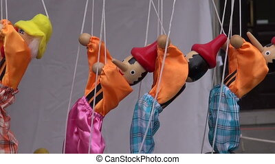 wooden dolls puppets marionette - wooden colorful dolls...