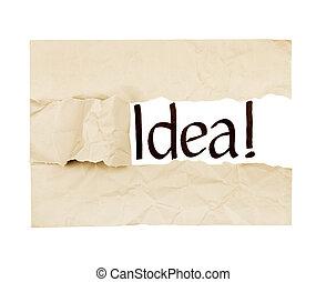 """the word """"idea"""" written under a sheet of paper"""