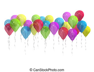 Colorful balloons isolated on white.