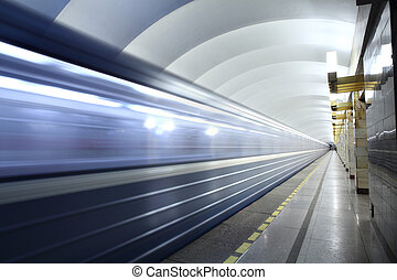 Public passenger transport, metro station, train departs...