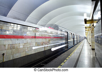 Russia, St. Petersburg, metro station train departs from...