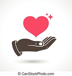 Hand Giving Love Symbol - Hand holding heart shape, vector...