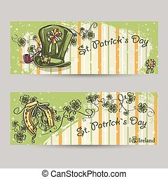 Set of horizontal banners for St Patricks Day with a...